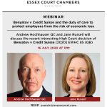 Essex Court Chambers Webinar: Benyatov v Credit Suisse and the duty of care to protect employees from the risk of economic loss